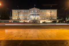 Night photo of The Greek parliament in Athens, Greece. Night photo of The Greek parliament in Athens, Attica, Greece Royalty Free Stock Photos