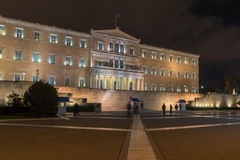 Night photo of The Greek parliament in Athens, Greece. Night photo of The Greek parliament in Athens, Attica, Greece Stock Photography