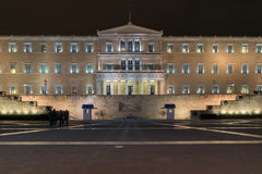 Night photo of The Greek parliament in Athens, Greece. Night photo of The Greek parliament in Athens, Attica, Greece Royalty Free Stock Image