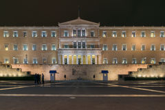 Night photo of The Greek parliament in Athens, Greece. Night photo of The Greek parliament in Athens, Attica, Greece Royalty Free Stock Photo