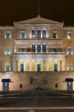 Night photo of The Greek parliament in Athens, Greece Stock Photos