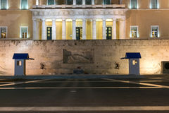 Night photo of The Greek parliament in Athens, Greece Stock Image
