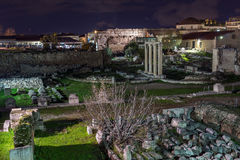 Night photo of Hadrian`s Library in Athens, Greece Stock Photo