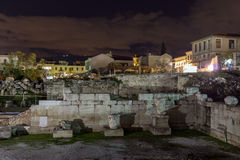 Night photo of Hadrian`s Library in Athens, Greece Stock Photography