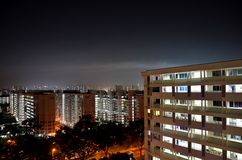 Night photo of high rise apartment buildings in Singapore Stock Photos