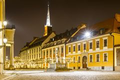 Night photo of illuminated Ostrow Tumski, Wroclaw, Poland. Night photo of illuminated Ostrow Tumski stock photos