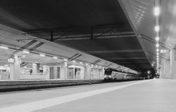 Train at the Krakow railway station... Night photo at  the Krakow main railway station Krakow, Poland black and white version Stock Image