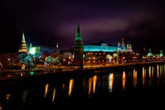 night photo of the Kremlin royalty free stock photo