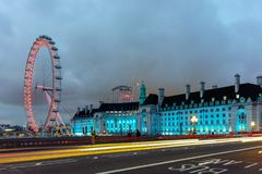 Night photo of The London Eye and County Hall from Westminster bridge, London, England, Great Brit Stock Photography