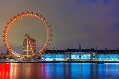 Night photo of The London Eye and County Hall from Westminster bridge, London, England, Great Brit Royalty Free Stock Images