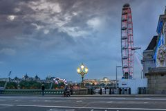 Night photo of The London Eye and County Hall from Westminster bridge, London, England, Great Brit. LONDON, ENGLAND - JUNE 16 2016: Night photo of The London Eye Royalty Free Stock Photo