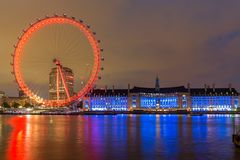 Night photo of The London Eye and County Hall from Westminster bridge, London, England, Great Brit. LONDON, ENGLAND - JUNE 16 2016: Night photo of The London Eye Royalty Free Stock Photos