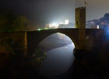 Night photo of medieval   bridge. Besalu Royalty Free Stock Photo