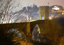 Night photo of medieval   bridge. Besalu Royalty Free Stock Images