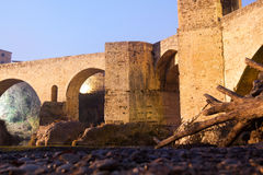 Night photo of Medieval bridge with city gate. Besalu, Catalonia Stock Image