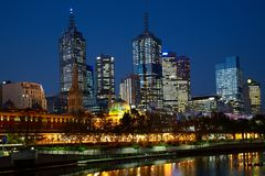 Night photo of Melbourne city Royalty Free Stock Photo