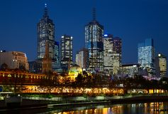 Night photo of Melbourne city Stock Photos