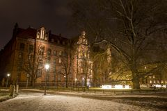 Night photo of Metropolitan Seminary in Ostrow Tumski, Wroclaw, Poland. Night photo of Metropolitan Seminary in Ostrow Tumski royalty free stock image