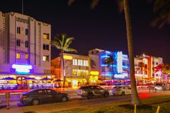 Night photo Ocean Drive tourist destination Miami Royalty Free Stock Images