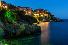 Night photo of old town of Sozopol of Sozopol ancient fortifications Stock Photos