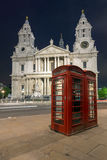 Night photo phone booth and St. Paul's Cathedral in London Stock Photo