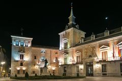 Night photo of Plaza de la Villa in City of Madrid, Spain Royalty Free Stock Images