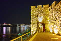 Night photo of reconstructed gate part of Sozopol ancient fortifications Stock Photos