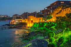Night photo of reconstructed gate part of Sozopol ancient fortifications Royalty Free Stock Image