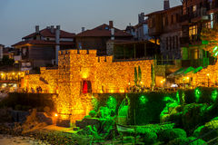 Night photo of reconstructed gate part of Sozopol ancient fortifications Stock Photo