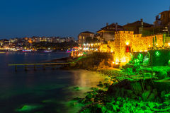 Night photo of reconstructed gate part of Sozopol ancient fortifications Royalty Free Stock Photos