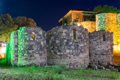 Night photo of reconstructed gate part of Sozopol ancient fortifications Royalty Free Stock Photography