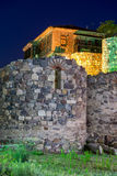 Night photo of reconstructed gate part of Sozopol ancient fortifications Stock Photography
