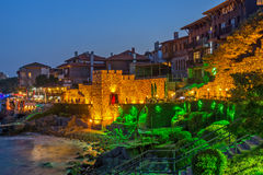 Night photo of reconstructed gate part of Sozopol ancient fortifications, Bulgaria Stock Photography