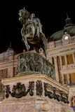 Night photo in the Republic Square on Belgrade with statue of Pr Royalty Free Stock Image
