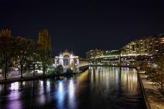 Night photo of Rhоne River and city of Geneva Royalty Free Stock Photo