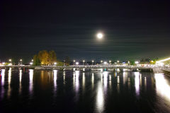 Night photo of Rhone River and Lake of Geneva Stock Photos