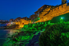 Night photo of ruins of reconstructed gate part of Sozopol ancient fortifications Royalty Free Stock Photo