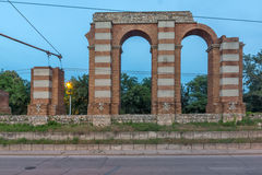 Night photo of Ruins of Roman Aqueduct in city of Plovdiv Stock Photography