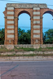 Night photo of Ruins of Roman Aqueduct in city of Plovdiv Royalty Free Stock Photography