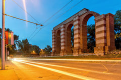 Night photo of Ruins of Roman Aqueduct in city of Plovdiv Stock Photos