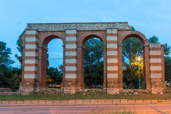 Night photo of Ruins of Roman Aqueduct in city of Plovdiv Royalty Free Stock Image