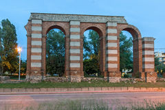 Night photo of Ruins of Roman Aqueduct in city of Plovdiv Stock Photo