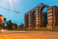 Night photo of Ruins of Roman Aqueduct in city of Plovdiv Royalty Free Stock Images