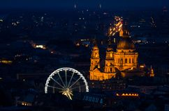Night photo of Saint Istvan Cathedral in Budapest stock images