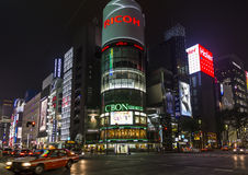 Night photo of San'ai building - the landmark of Ginza district, Stock Photos