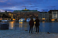 Night photo session, Stockholm royalty free stock photography