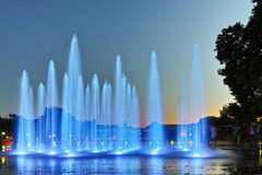 Night photo of Singing Fountains in City of Plovdiv. Bulgaria stock photography