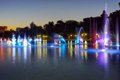 Night photo of Singing Fountains in City of Plovdiv. Bulgaria Royalty Free Stock Photos