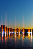 Night photo of Singing Fountains in City of Plovdiv. Bulgaria Stock Photos