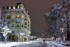 Night photo of snowy street in center of Sofia city Stock Images